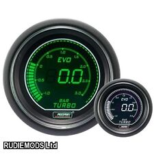Prosport 52mm EVO Car BOOST 3 bar Gauge Green and White LCD Digital Display