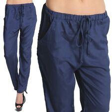 TheMogan Elastic Waist Pleated Drape Trousers Pants Casual Harem Slacks NAVY S