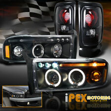 94-01 Dodge Ram 1500 2500 Halo Projector Black Headlights+Dark Smoke Tail Lights