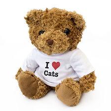 NEW - I LOVE CATS - Teddy Bear Cute And Cuddly - Gift Present Birthday Xmas