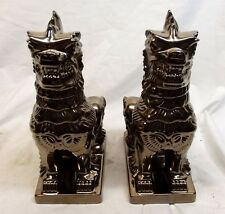 Vtg Metallic Ceramic Foo Dog Set Pair Guardian Lions Dragon Metal Glaze 10.5""