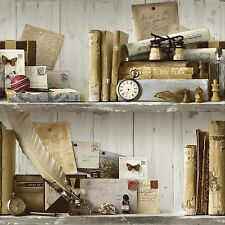 New Grandeco - Eclectic - Natural - Wooden Bookshelf - Luxury Wallpaper A12402