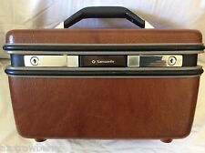 VTG Samsonite Silhouette Train Cosmetic travel Case Bag Brown Faux Leather