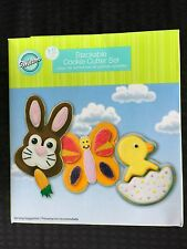 Retired Wilton 3-D Stackable Cookie Cutter Set 9 Pieces Bunny Butterfly Chick