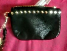 Wrist Clutch Black with Gold Studded Trim and Strap Small