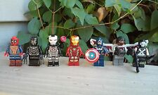 Custom Marvel Capt America Civil War Iron Man,Spiderman,Minifigure+Lego Brick 7p