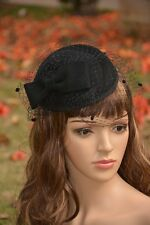 Womens Dress Fascinator Wool Pillbox Hat Party Wedding Bow Veil A068