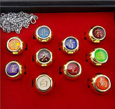 Hot Cosplay Naruto Akatsuki 10 Rings Sets And Necklace With Box Anime Gifts