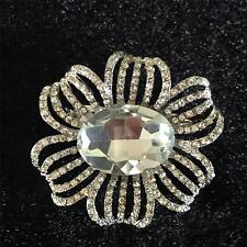 Stunning Large Silver Clear Crystal Flower Brooch - NEW IN GIFT BAG