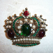 VTG WEISS EMERALD RUBY FAUX PEARL CROWN FIGURAL BROOCH PIN    ~~BOOK PIECE~~
