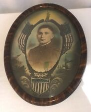 WWI US Army Soldiers Patriotic Oval Framed Convex Portrait