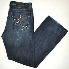 Rock & Republic Taylor Distressed Bootcut Jeans W/ Button Flaps 38 X 34 3/4 Long
