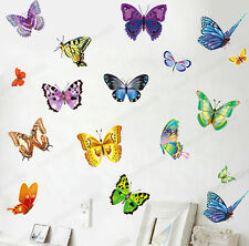 17 Colourful Butterflies Wall Stickers Transparent Vinyl Decal Home Kids Decor