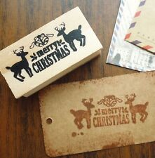 Merry Christmas Wooden Reindeer Rubber Stamp Craft Christmas Tags Gifts UK
