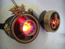 Pro Steampunk Goggles Cosplay Copper & Brass Clockwork Watch Gears Red LED 7.5x2