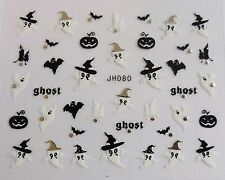 "Halloween 3D Nail Art Stickers Sparkly ""Pumpkin & Ghosts"" Silver,Black,White 080"