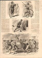 Istanbul Constantinople Firefighter Fire pump Turkey Turc GRAVURE OLD PRINT 1865