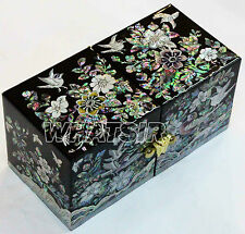 Korean Jewelry Stores Case Mother of pearl Jewel Treasury box Flower Birds DS153