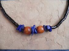 "Lapis, Amber & Coral Heishi Necklace 17.5"" Santo Domingo"