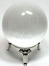 80 mm Selenite Sphere Selenite Crystal Gemstone Specimen Reiki Chakra. W/Stand.