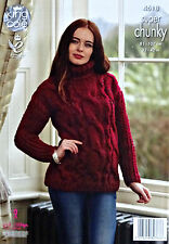 KNITTING PATTERN Ladies Polo Neck Cable Jumper Super Chunky King Cole 4618