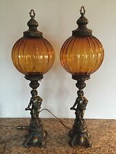 Pair Of Vintage Bronze Metal Cherub Figural Lamps Amber Glass Shades Globes