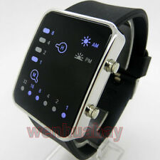 NEW Blue LED Binary Watch Black Silicone Band Boy Girl Mens Womens Sports Gift