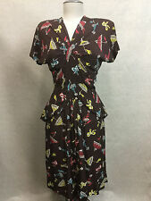 Vtg 1940s Evelyn Alden Rayon Crepe Baby Doll Novelty Print Umbrella Pin Up Dress
