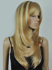 LMJF96 charming long mixed blonde straight natural hair wig wigs for women