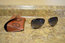 *Ray-Ban RB3025 58-14 135 Gold Frame Gray Polarized Aviator Sunglasses w/ Case