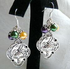 Lady in a Mask Mardi Gras Carnival Purple Green Gold Glass Pearl Earrings #A2