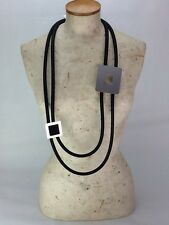 Lagenlook Long Industrial Rubber And Squares Necklace Quirky Statement