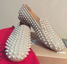 NEW 1295$ CHRISTIAN LOUBOUTIN Rolling Spikes Flat  Grey Nude Patent Oxford 37,5