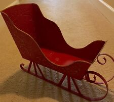 Beautiful Red Metal Christmas Sled Sleigh Display Figure Doll Decor 19""