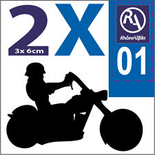 2 stickers autocollants style plaque immatriculation moto Rhone Alpes RA 01