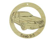 Saab 9-5 Natural Maple Hardwood Ornament Sanded Finish Laser Engraved