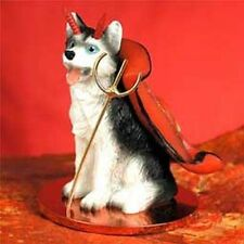 HUSKY Black White Blue Eyes Devil Dog Tiny Figurine