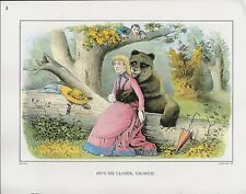 "1972 Vintage Currier & Ives TEDDY BEAR ""HUG ME CLOSER, GEORGE!"" COLOR Lithograph"