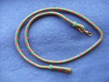 BRITISH ARMY MILITARY, GREEN AND RED PISTOL LANYARD WITH SWIVEL CLIP, 91CM