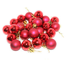 Pack of 25 Small Metallic & Matte Christmas Tree Baubles Hanging Decorations