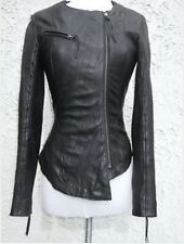Rare Iconic Kate Moss @ Topshop Asymmetric Soft Leather Black Biker Jacket Uk10