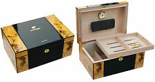"LARGE  BURL & EBONY COHIBA 100   HUMIDOR "" WE SHIP FASSSSST FROM USA"""