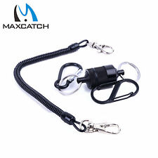 Landing Net Magnetic Release Holder with Carabiner Telescopic Cord 5.5LB Black