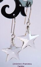 925 Silver CLEAR CRYSTAL 20mm STAR Hook Earrings with SWAROVSKI ELEMENTS Xmas