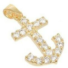 DAINTY PAVE YELLOW GOLD VERMEIL ANCHOR CUBIC ZIRCONIA PENDANT-925/SS