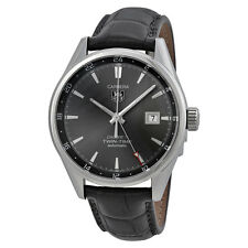 Tag Heuer Carrera Twin Time Anthracite Dial Grey Alligator Leather Mens Watch
