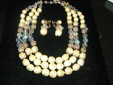 Vendome Signed Faux Pearls Aurora Borealis Crystal 3 Strand Necklace-earings set