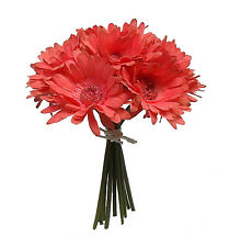 CORAL REEF SALMON  ~ Gerbera Daisy Daisies Bridal Bouquet Silk Wedding Flowers