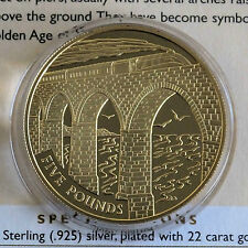 ALDERNEY 2006 CROSSING THE VIADUCT 22 CARAT GOLD PLATED SILVER PROOF £5 CROWN