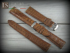 Cinturino in Pelle LS COCCODRILLO Bombato Opaco 20 mm Watch Strap Band Cognac